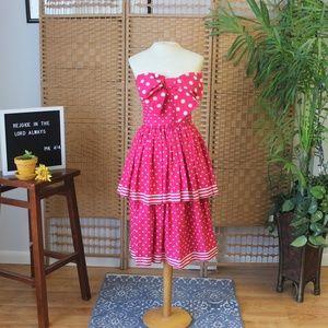 Vintage 80s Victor Costa Peplum Tiered Dress XS